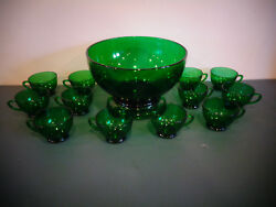 Anchor Hocking Forest Green Punch Bowl Set With Base And 12 Cups