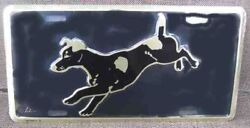 JACK RUSSELL TERRIER GoldBlack Metal License Plate CLEARANCE
