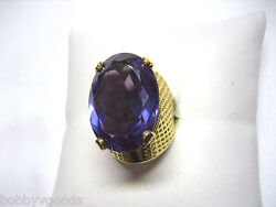 Vintage 18k Yellow Gold And Huge Iolite Oval Stone Estate Jewelry Ring Size 8.75
