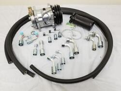 Universal 134a Air Conditioning AC Hose Kit w Fittings Drier & Plain Compressor