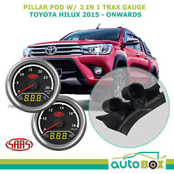 Pillar Pod For Hilux 2015-current W/ 2in1 Diesel Boost Ext Temp Dual Volts Gauge