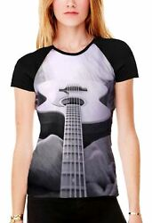 Abstract Acoustic Guitar Black And White Womenand039s All Over Print Baseball T Shirt