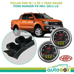 2011-15 Ford Ranger Px Mk1 Pillar Pod W/ 2in1 Boost Ext Temp And Dual Volts Gauge
