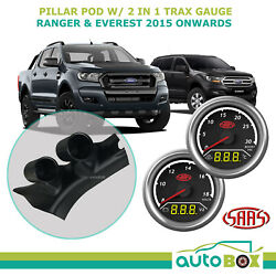 Ford Ranger And Everest 2015 Pillar Pod W/ 2in1 Boost Ext Temp And Dual Volts Gauge