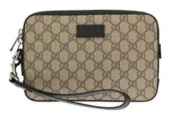 NEW GUCCI MEN'S CURRENT GG GUCCISSIMA SUPREME LEATHER WRISTLET CLUTCH BAG