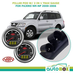 Pajero Nm-np 2000-06 Pillar Pod W/ 2in1 Diesel Boost Ext Temp And Dual Volts Gauge