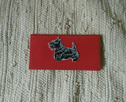 Scottie Scotty Dog Red Checkbook Cover with Appliqued Brindle Scottie