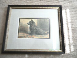 Scottish TerrierScottieScotty Framed Matted Print From Herbert Dicksee etching