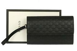 NEW GUCCI MEN'S CURRENT BLACK GG GUCCISSIMA CLUTCH DOCUMENT CASE BAG WRISTLET