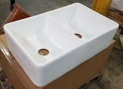 32 White Fireclay Farmhouse Double Bowl Kitchen Sink - Drain And Grids