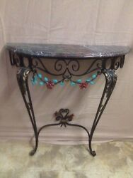 Vintage Decorative Wrought Iron Granite Top  Entry Hall Table Wall Mounted Nice