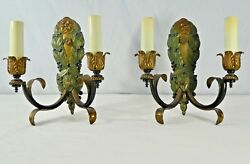 Pair Of Italian Cast Solid Brass Double Arm Electric Candle Sconces. 12h. 1950