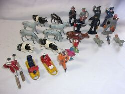 Old Lead And Metal Toy Figures Lot Cow Skater Skier Fireman Bellhop Police  T