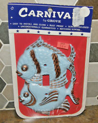 Vintage NEW Kitschy Blue & Gold Fish Carnival by Grove Outlet Switch Plate Cover