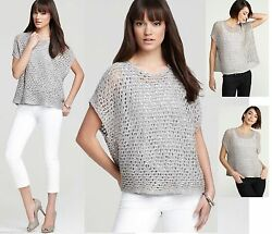 318 Eileen Fisher Sequin Chainmail Mesh Antique Silver Cap Slv Box Sweater Top