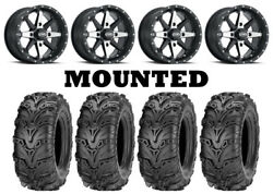 Kit 4 Itp Mud Lite Ii 2 Tires 28x9-14/28x11-14 On Itp Cyclone Matte Black Can