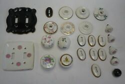 Vintage Floral Ceramic Light Switch Plate Covers, Door Knobs, Key Plates,