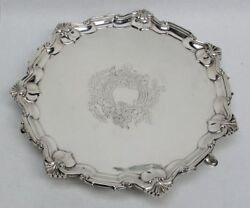 1904 London Sterling Silver Scalloped 11 Round Footed Tray