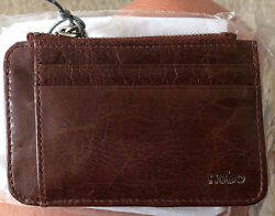 NEW Hobo International Kai Leather Card Holder with key chain Cinnamon Brown