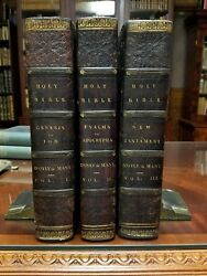 The Holy Bible 3 Vol 1817 Dand039oyly And Mant Large Quartos Leather Hand-colored Illus