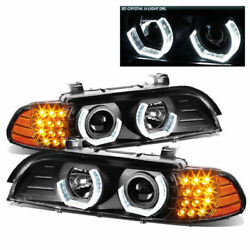 Country Coach Magna 2002 2003 2004 Black Projector Head Lamps Headlights Rv Led