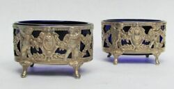 Great Antique German French Import Pair Of Cobalt Blue Glass Insert Salt Dishes