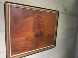 Large Wooden Wall Marquetry Plaque Ship Three-master Signed By The Artist