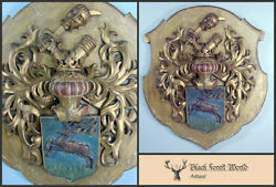 German Wooden Wall Plaque Coat Of Arms, Very Fine Detailed Dates 1880-1910
