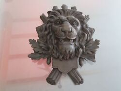 Black Forest Carved Wood Lion Head Mask Wall Fixture