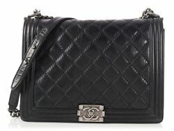CHANEL Large Black Quilted Lambskin Boy Bag Puse ~ Details for days!