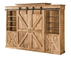 Amish Barn Door TV Entertainment Center Wall Unit Rustic Track Doors Solid Wood