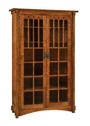 Amish Mission Arts And Crafts Bookcase Glass Doors Solid Wood Furniture 72