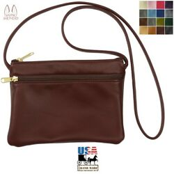 Crossbody Leather Bag - Double Zipper Shoulder Purse In 17 Colors Amish Usa