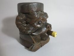 black forest  hand carved wooden dog tobacco jar terrier