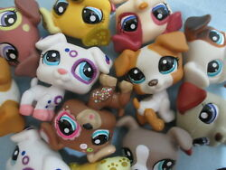 Littlest Pet Shop Set Lot 2 Random Jack Russell Puppy Dog Authentic and Gift Bag
