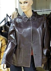 MICHAEL KORS COUTURE BERGDORF GOODMAN BROWN LEATHER JACKET 12 M NWT $2695