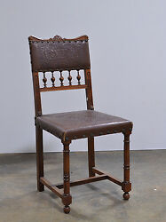 1106008 Set Of 8 Antique French Renaissance Side Chairs W/ Embossed Leather