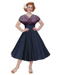 1950s Style Vivien Of Holloway Grace Wrap Dress Navy Cherry Pin-up Rockabilly