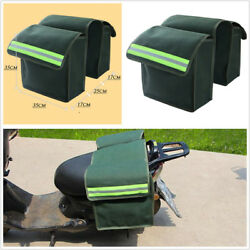 2X Universal Motorcycle Saddle Bags Luggage Pannier Helmet Tank Bag Canvas Green