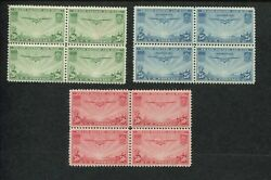 1935 Us Air Mail Postage Stamp C20-c22 Mint Never Hinged Vf Block Of 4 Set