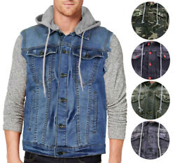 Cs Menand039s Ripped Distressed Button Up Denim Jean Vest Removable Hood Slim Fit
