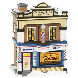 Department 56 Snow Village Flattop Barber Shop New  6000638 Animated
