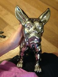 UNIQUE LARGE SILVER CERAMIC BULL DOG FIGURINESTATUE WITH FREE SHIPPING