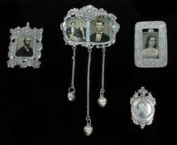 Collection 4 Antique Tin Type Photo Group In Sterling Silver Brooch Frames