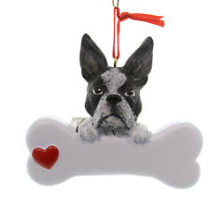 Personalized Ornament BOSTON TERRIER Polyresin Dog Best Friend Bone 574