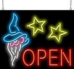 Open With Wizard Neon Sign | Jantec | 2 Sizes | Real Neon | Free Shipping