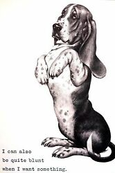 Boswell BLUNT BASSET HOUND When He Wants Something 1958 Vintage Dog Print Matted