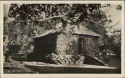 Suva Fiji Cancel Missing Stamp - Native House Real Photo Postcard