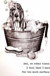 Boswell BASSET HOUND Taking a Bubble Bath 1958 Vintage Dog Print Matted