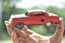 Vintage Friction Red Litho Small Car Tin Toy , Collectible